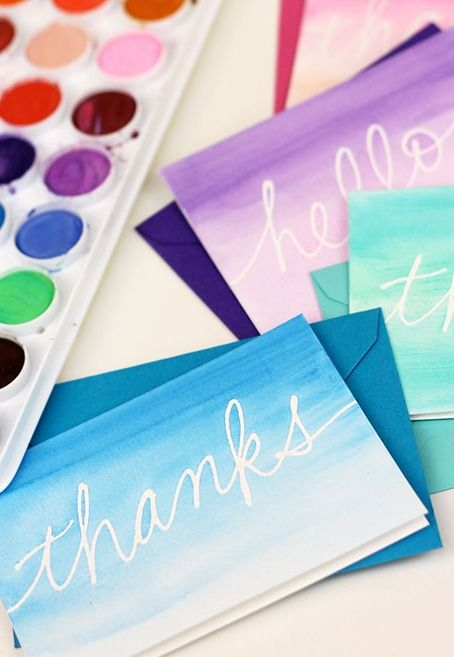 DIY Watercolor Notecards--but with names! Could turn it into a program by having students create their own.
