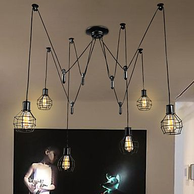 6 Lights Country Designers  Metal Pendant Lights Living Room / Bedroom / Dining Room / Kitchen / Study Room/Office – USD $ 191.99