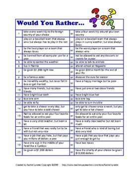 Would you rather questions. Great when you have a few spare minutes. - Re-pinned by @PediaStaff – Please Visit ht.ly/63sNt for all our pediatric therapy pins