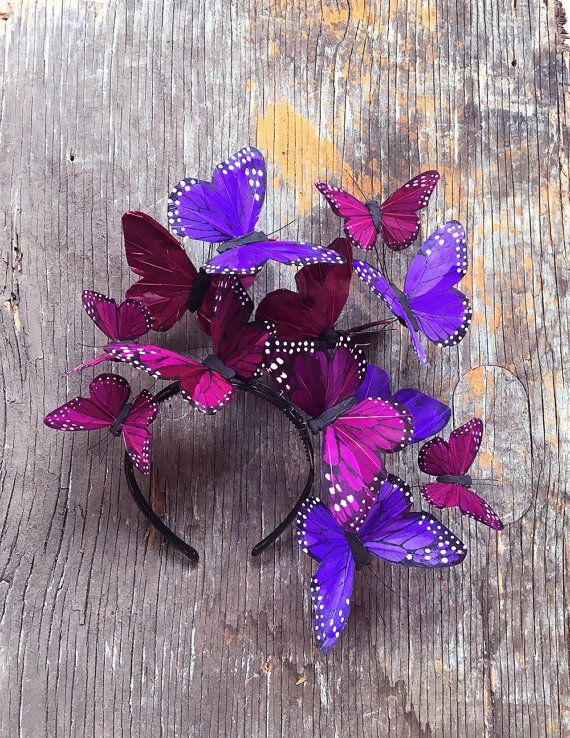 Violet Cosmos Butterfly Fascinator Headdress Headpiece