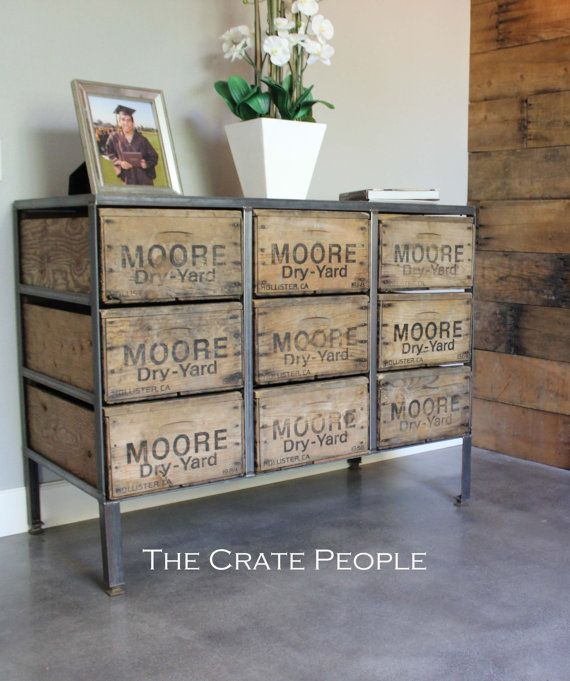 9 Drawer Dresser Vintage Wood Crates & by TheCratePeople on Etsy