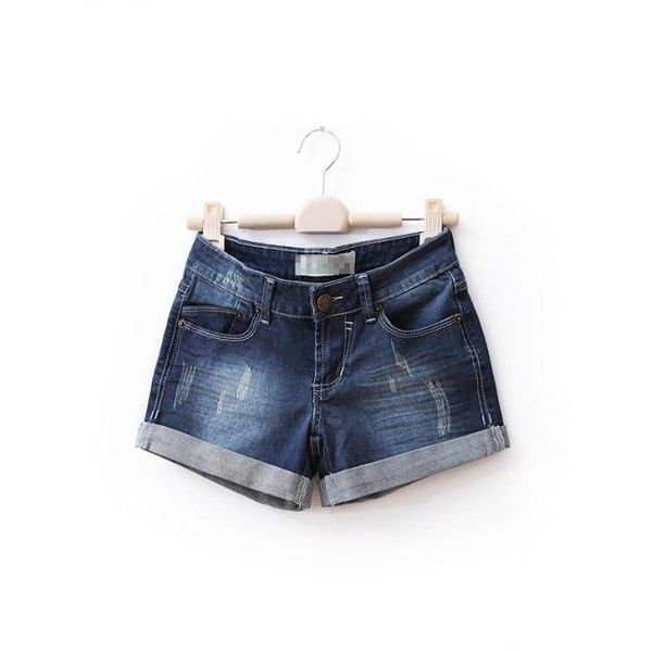 Grinding White Cuffed Denim Shorts Deep Blue$40.00 ($40) via Polyvore