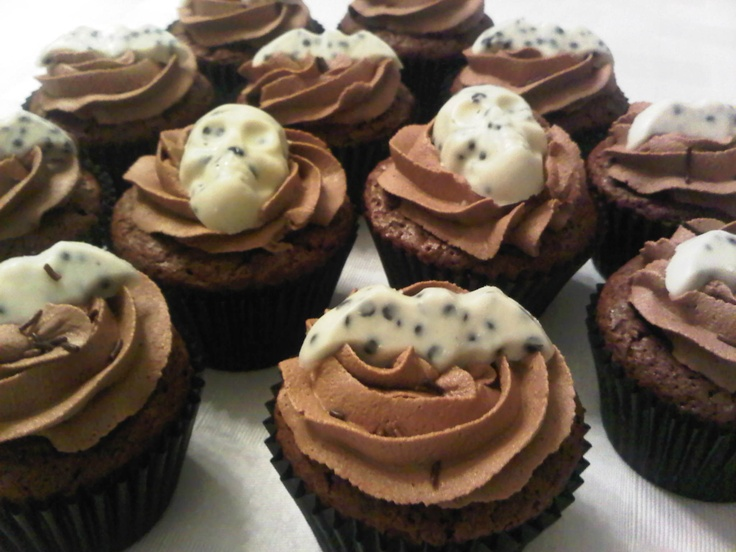 Choc and chilli cupcakes with choc buttercream and (Hersey's cookies n cream) spooky decs.
