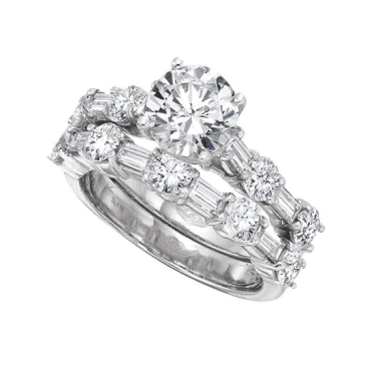 Flyerfit Forever Shared Prong Round And Baguette Diamond Wedding Band Engagement Ring Sold Separate