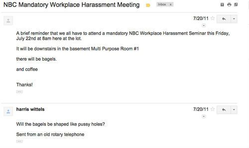 "Harris Wittels' ""reply all"" email to NBC execs and others regarding a Sexual Harassment Seminar. Simple. HILARIOUS."