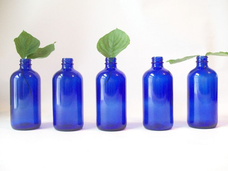 Vintage cobalt blue glass bottle retro home decor - Cobalt blue bathroom accessories ...