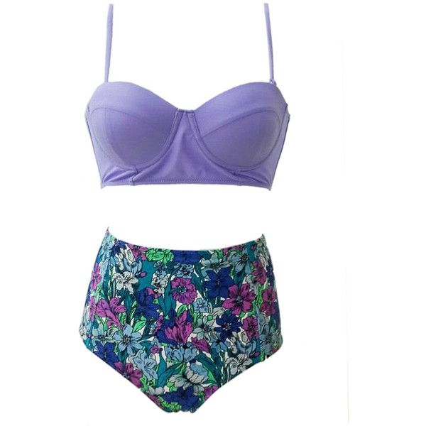 Choies Purple Push Up Bikini Top And Floral High Waist Bottom (£11) ❤ liked on Polyvore featuring swimwear, bikinis, bikini, swimsuits, bathing suits, swim, multi, push up bikini swimsuit, bikini swimsuit and push up bikini top