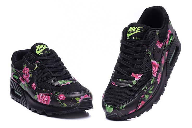 Nike Air Max 90 Noir Fleurs Blanches Rose