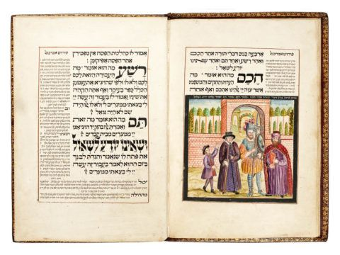 Passover Haggadah, with commentaries Altona, copied and decorated by Joseph ben David of Leipnik, 1739