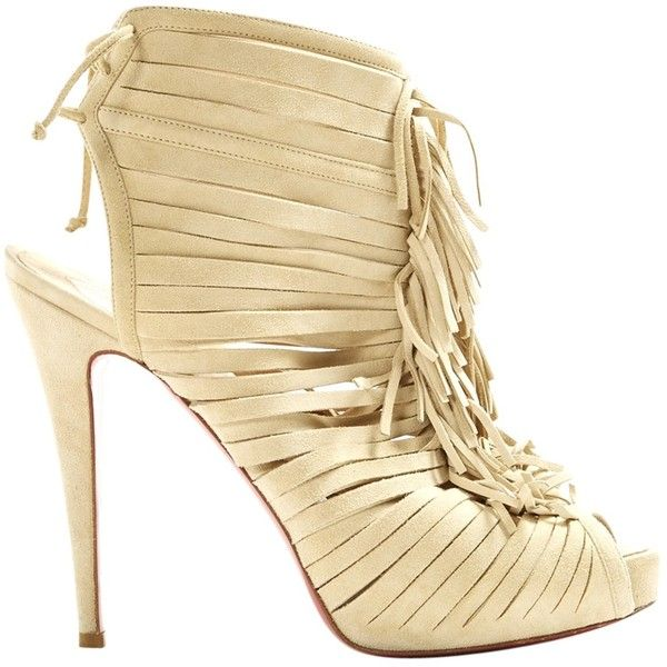 Pre-owned Christian Louboutin Leather Heels ($447) ❤ liked on Polyvore featuring shoes, pumps, beige, women shoes heels, christian louboutin, beige pumps, christian louboutin shoes, christian louboutin pumps and beige shoes