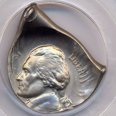 Extremely Rare Fold Over Nickel -- This is a phenomenal looking error!