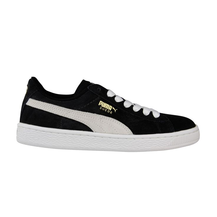 PUMA Suede Junior Sneaker (Little Kid/Big Kid) , Black/White, 13 M US Little Kid. Classic suede sneaker with signature Formstrip and perforated detailing at midfoot. Removable Kinder-Fit sockliner and cushioned midsole. Non-marking rubber outsole.