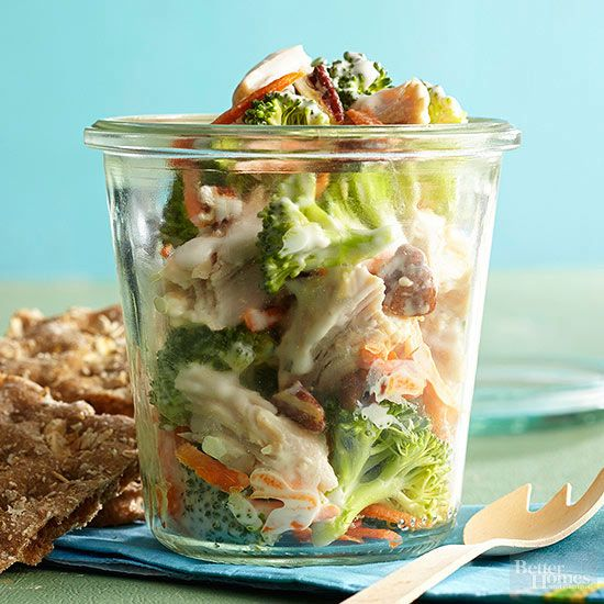 No side dishes needed with this quick-fix lunch. Mix equal amounts plain yogurt and ranch salad dressing. Toss in chopped cooked chicken, plus broccoli and shredded carrots. Craving crunch? Finish with chopped pecans.