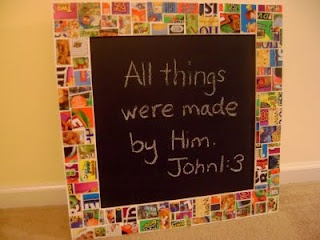 Cereal Box Mosaic on Frame- I would probably use a piece of foam board.
