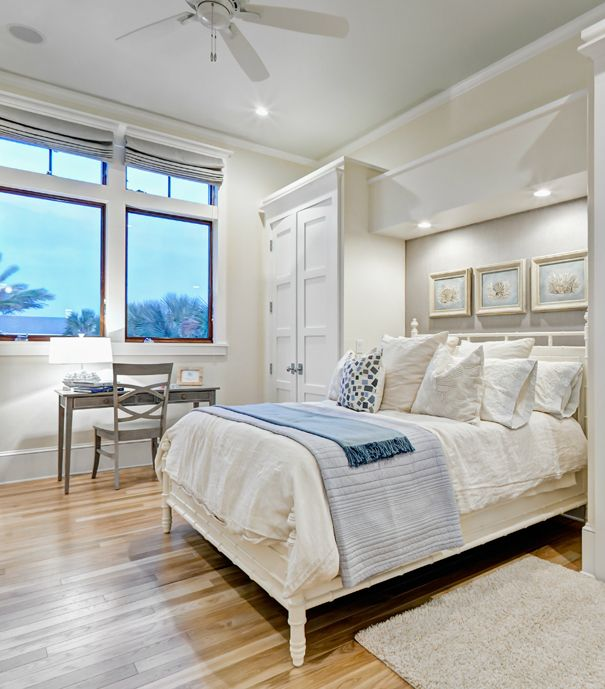 House of Turquoise: Balfoort Architecture + Beach Chic Design  Beautiful colors as well as a great idea for adding storage/lighting to bedroom!