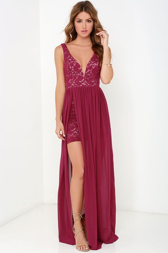 Make Way for Wonderful Berry Red Lace Maxi Dress