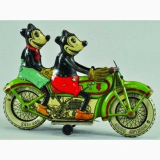 Tippco Tin Toy 1940's Mickey Mouse on motorcycle