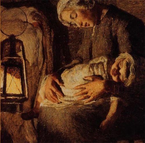 LE DUE MADRI (1889), dettaglio  Giovanni Segantini  (1858 - 1899)    Altri titoli: Effetto di lanterna, Interno di stalla  Galleria d'Arte Moderna di Milano  Tela cm. 157 x 280