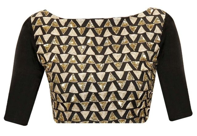 Black and gold blouse. Classic! Beautiful high neck and long sleeve..