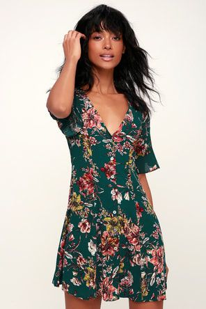b79bededea4 Lulus   Carriage Tour Pink and Green Floral Print Sleeveless Dress ...