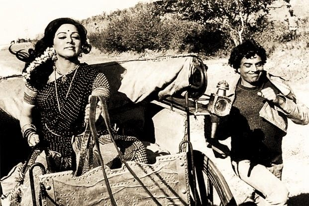 Dharmendra and Hema Malini in a still from Sholay 1975.