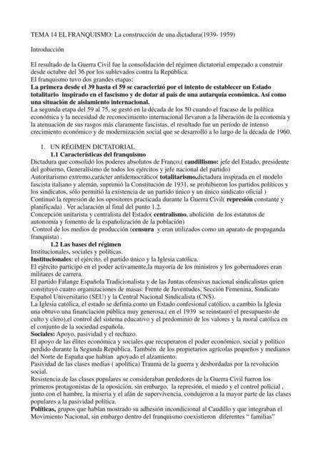 TEMA 14 EL FRANQUISMO: La construcción de una dictadura(1939 ...