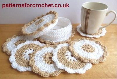 Coasters & coaster basket free crochet pattern from http://www.patternsforcrochet.co.uk/coasters-basket-usa.html #freecrochetpatterns #patternsforcrochet