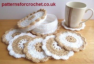 Coasters & coaster basket free crochet pattern from http://www.patternsforcrochet.co.uk/coasters-basket-usa.html #freecrochetpatterns #patternsforcrochet