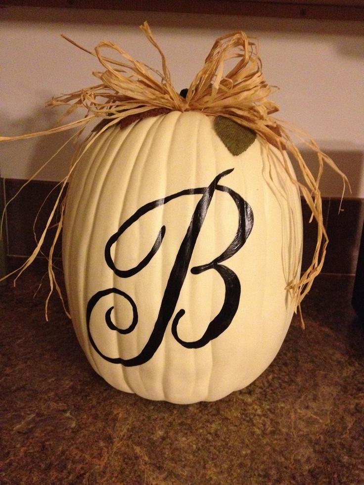 Monogram pumpkin, hand lettered
