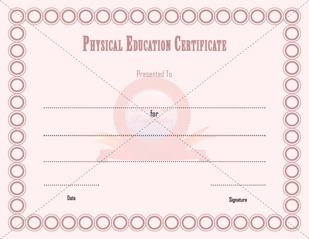9 best PHYSICAL EDUCATION TEMPLATE images on Pinterest - army certificate of achievement template