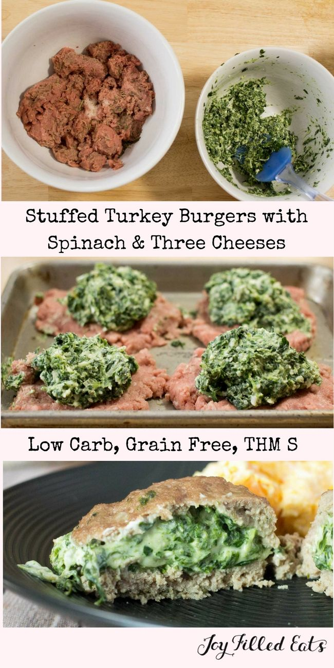Stuffed Turkey Burgers with Spinach & Three Cheeses - Low Carb, Grain Free, THM S - Stuffing turkey burgers with spinach and cheese definitely takes them to the next level. via @joyfilledeats