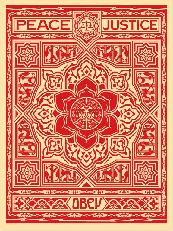 ☯☮ॐ American Hippie Psychedelic Art ~ Red Peace Justice - OBEY Shepard Fairey street artist . . revolution OBEY style, street graffiti, illustration and design posters.