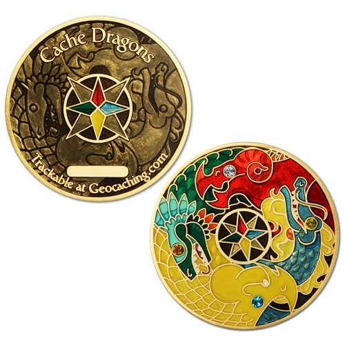 Amazing new geocoin available at http://shop.geocaching.com/ - Cache Dragons! It's bedazzled and beautiful!  Only $11.99! #geocoin