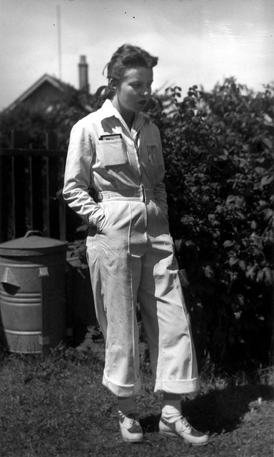 Pam (nee Seivewright) Chambers in wartime factory overalls, Vancouver, 1942.
