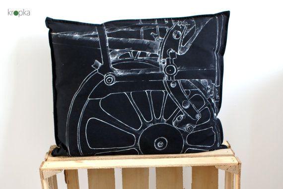 Steam punk pillow case Train pillow case Black by KropkaDesign