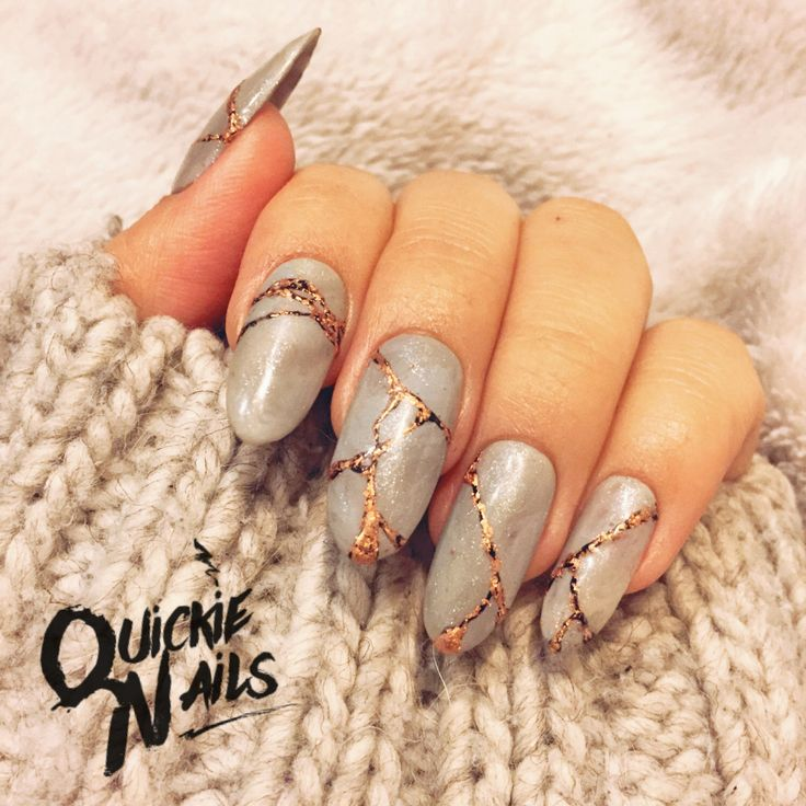 Nude Grey Marble   Copper Leaf   Custom Set Nails   Any Shape or Size   False Glue On Nails   by QuickieNails on Etsy https://www.etsy.com/listing/480532796/nude-grey-marble-copper-leaf-custom-set