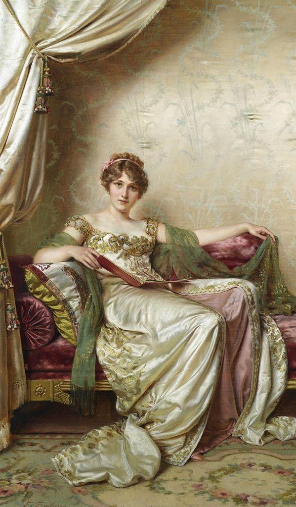 """Frédéric Soulacroix (1858-1933), """"ELEGANTE"""". Inició con piezas de género romántico, con personajes con ropa de siglos anteriores, y aunque se le considera de la corriente de realismo artístico, más se le identifica con el romanticismo."""