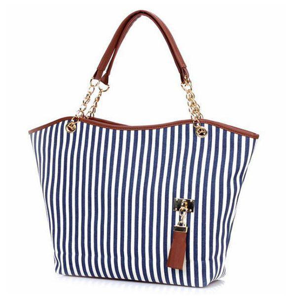The Hampton Stripe - Navy and White Vertical Stripe Tassel Bag - The Handbag Hut