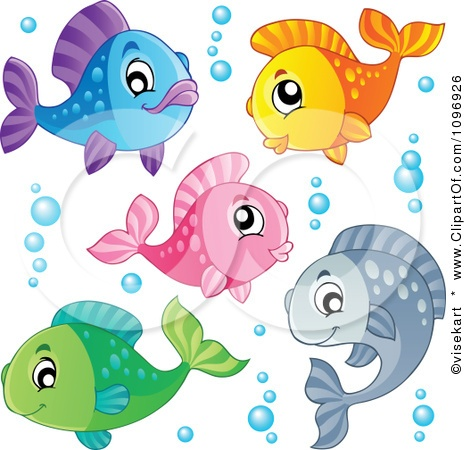 Clipart Happy Colorful Fish And Bubbles - Royalty Free Vector Illustration by…