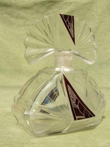 Large Fan Scent Bottle  Vintage 1930's Czech scent bottle with red geometric enamelling. artist: Karel Palda