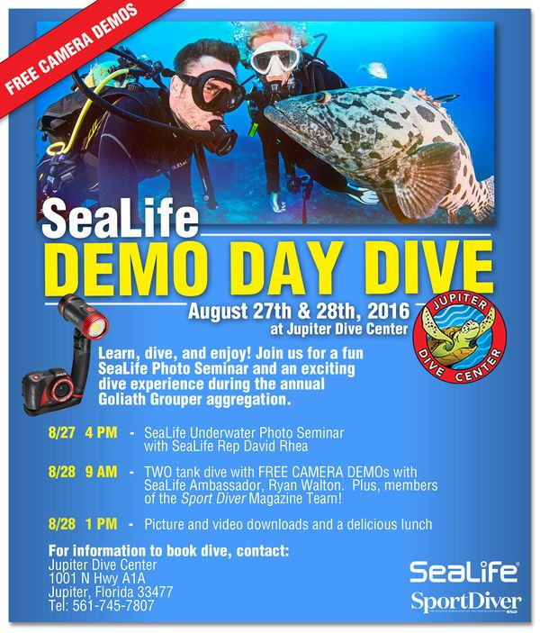 SeaLife Cameras and Sport Diver magazine are hosting an underwater photography seminar in Jupiter, Florida, August 28 and 29. Sign up before it's too late!