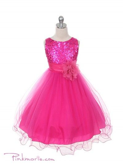 Fushia Elegant Stunning Sequined Bodice Girl Dress