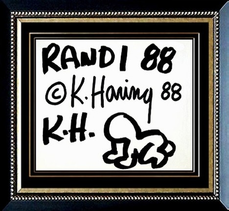 #Randi 88 1988. Copertina del calendario di Keith Haring del 1988. Firmato sul fronte. Dimensioni: Cm. 35,50 x 28,50. Tecnica: Sumi Ink.