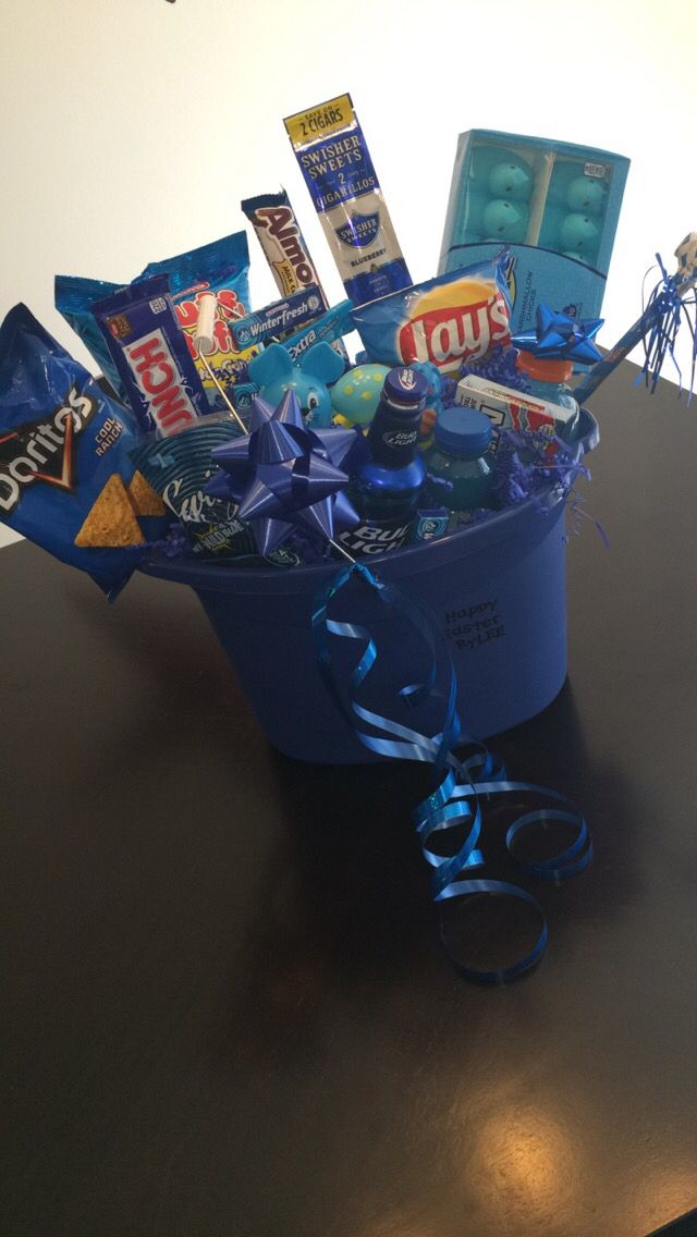 Blue themed men's gift basket filled with goodies!