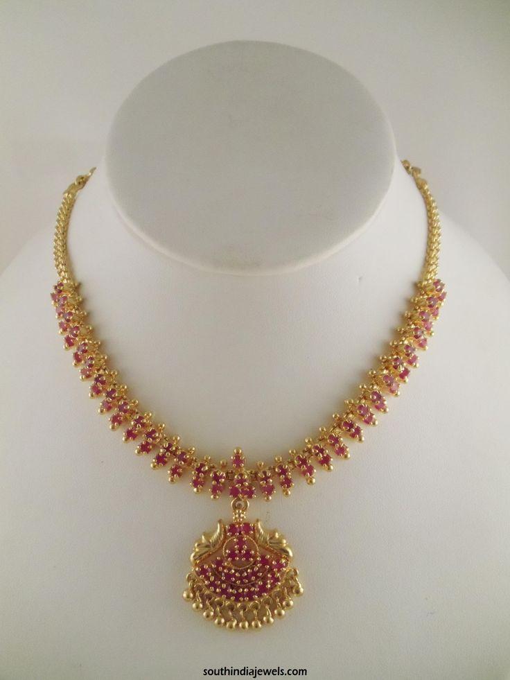 1 Gram Gold Ruby Necklace Design Necklace Designs Gold