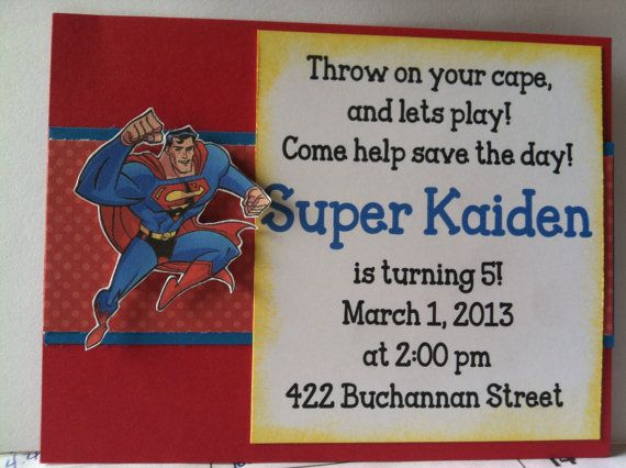 Superman Birthday Invitations by CreativeCreationsTBG on Etsy, $1.30