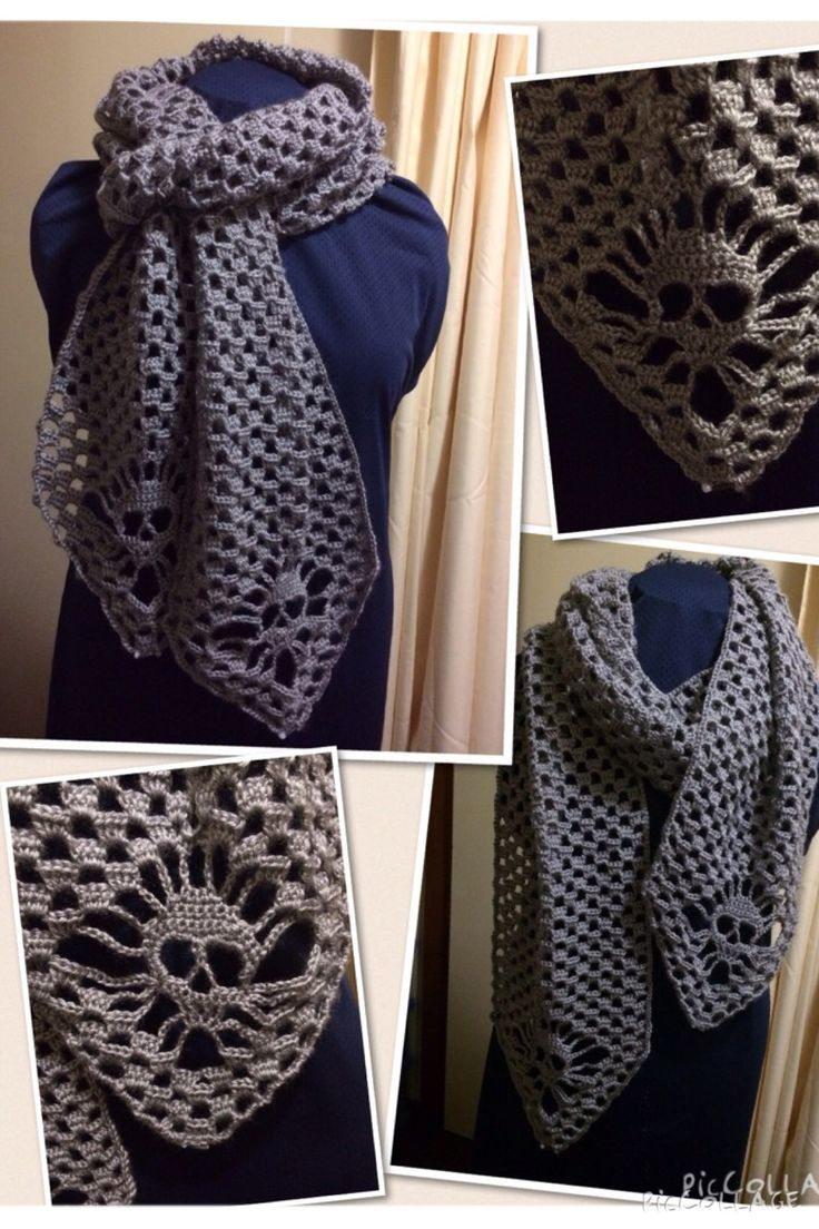 Skull Scarf crocheted in 4ply baby soft acrylic by Bella Baby. Adapted from the shawl pattern by KUNGEN O MAJKIS (http://kungenomajkis.blogspot.se/2013/04/virkad-doskallesjal-med-monster.html)