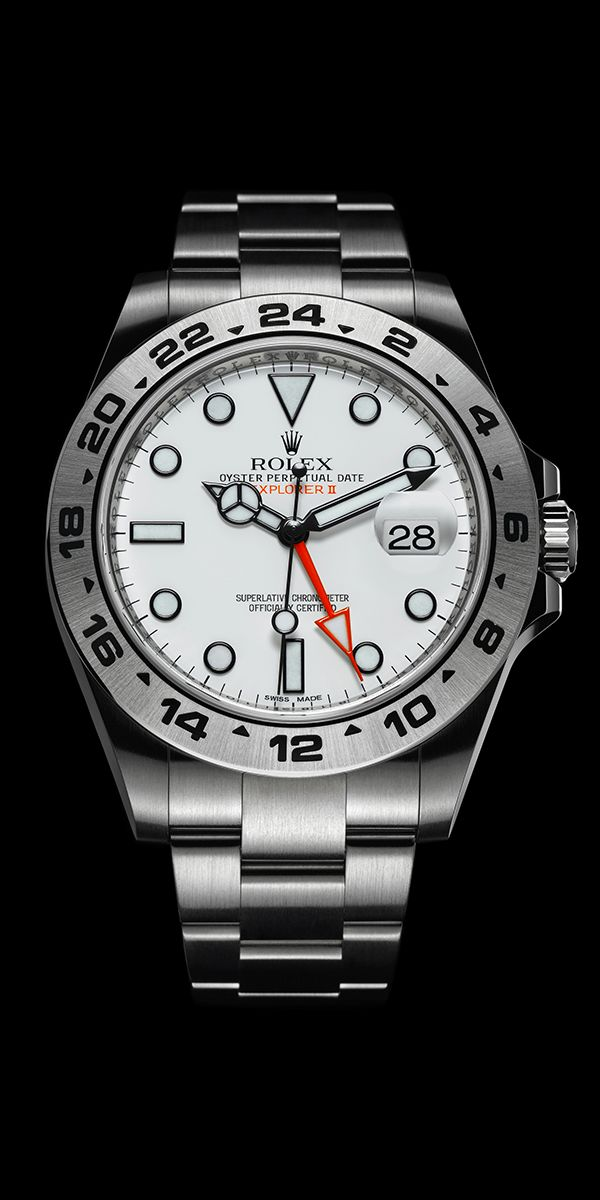 With its 42mm Oyster case in 904L stainless steel, the Rolex Explorer II is the ultimate expedition watch, offering supreme legibility and reliability. The additional 24-hour display with an orange hand ensures an unequivocal distinction between daytime and night time in polar extremes and underground, and can be used to display a second time zone. It can even serve as a compass, indicating the North (in the northern hemisphere) when the hour hand is pointed at the sun.