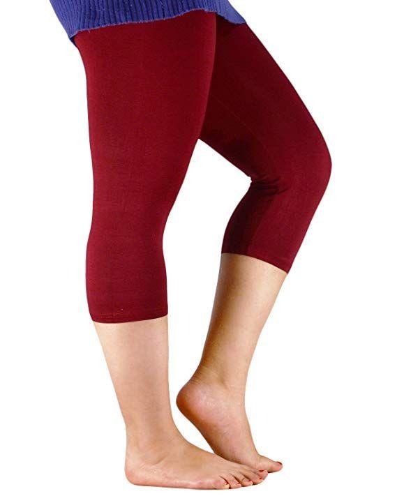 77ea629ce074a Amazon.com  Zando Women s Plus Size Ultra Soft Summer Cropped Leggings  Elastic Cool Lightweight 3 4 Length Yoga Capri Pants  Clothing