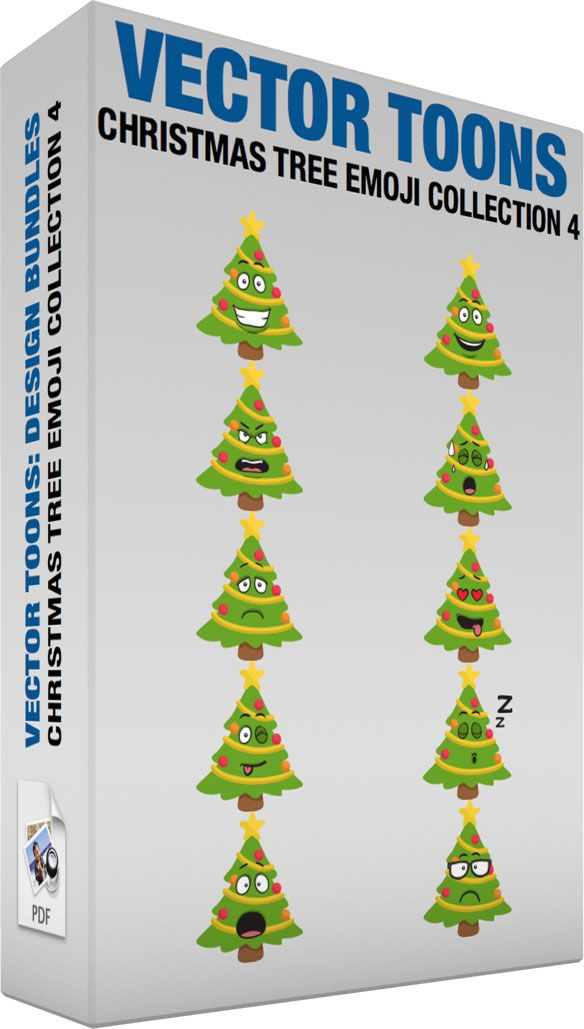 Christmas Tree Emoji Collection 4 #cartoon #clipart #vector #vectortoons #stockimage #stockart #art